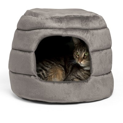 Best Friends by Sheri 2-in-1 Honeycomb Hut-Cuddler in Bella Pet Bed - Gray