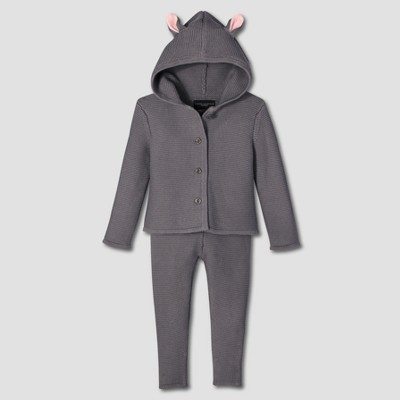 Baby Dark Gray Bunny Jacket and Pants Sweater Set 3M - Victoria Beckham for Target