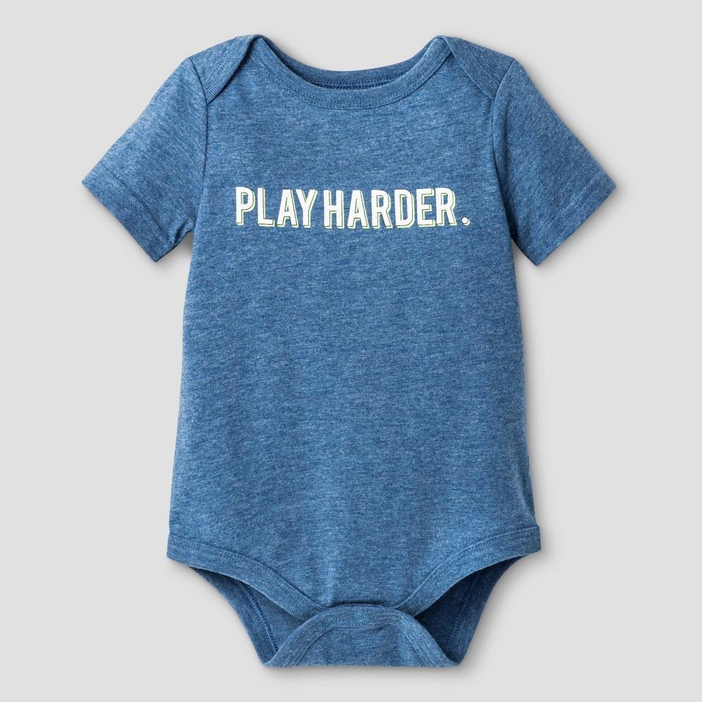 Baby Play Harder Bodysuit - Cat & Jack - Navy NB, Infant Unisex, Blue