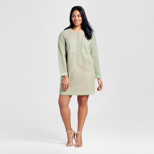 Women's Plus Mint Green Long Sleeve Lace Dress - Victoria Beckham ...