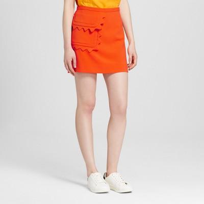 Women's Orange Twill Skirt with Scallop Trim Pocket - Victoria Beckham for Target