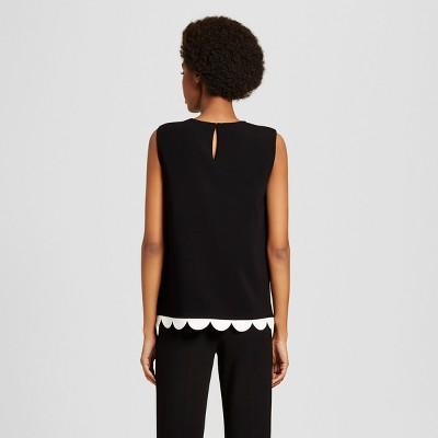 Women's Black Twill Tank Top with Asymmetric Scallop Trim XL - Victoria Beckham for Target