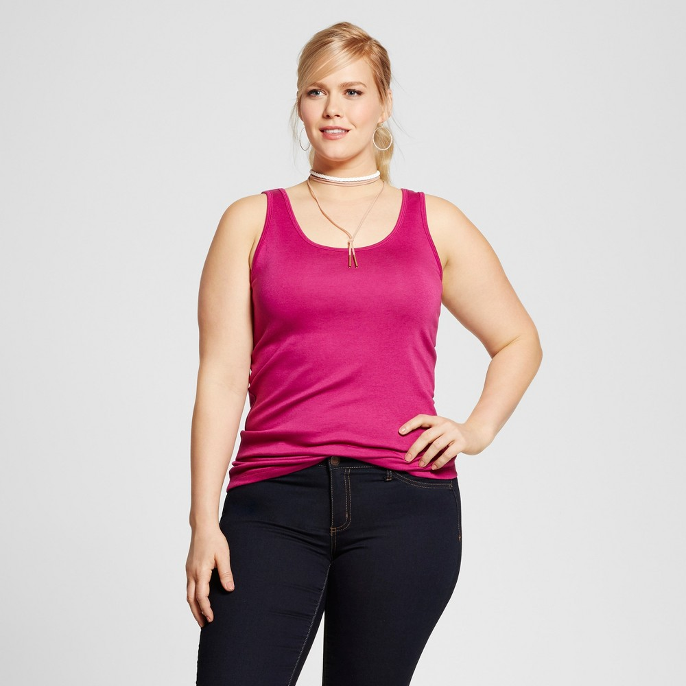 Womens Plus Size Perfect Tank Top - Ava & Viv Tulip Pink 2X