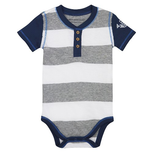 Burt's Bees Baby Boys' Organic Rugby Stripe Buzz Bodysuit - Heather Grey 24M, Infant Boy's, Size: 24 M, Gray