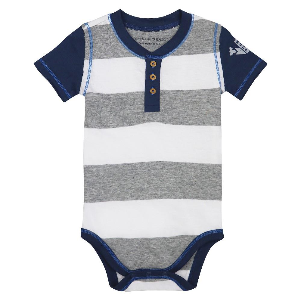 Burt's Bees Baby Boys' Organic Rugby Stripe Buzz Bodysuit - Heather Grey 0-3M, Size: 0-3 M, Gray