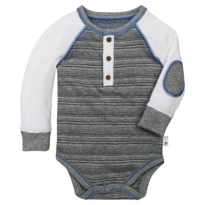 Burt's Bees Baby® Boys' Organic Variegated Stripe Bodysuit - Heather Grey 6-9M