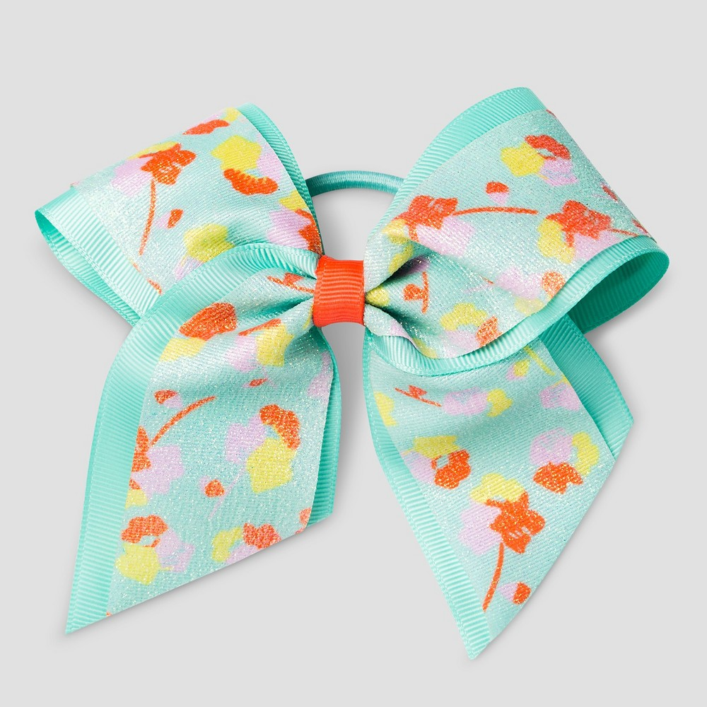 Girls Floral Bow Pony Holder - Cat & Jack Mint (Green)