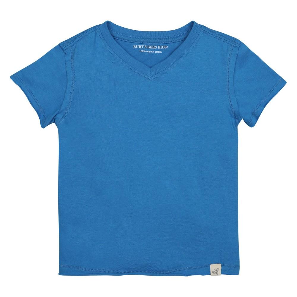 Burts Bees Baby Boys Organic High V T-Shirt - Blue 6-9M, Size: 6-9 M