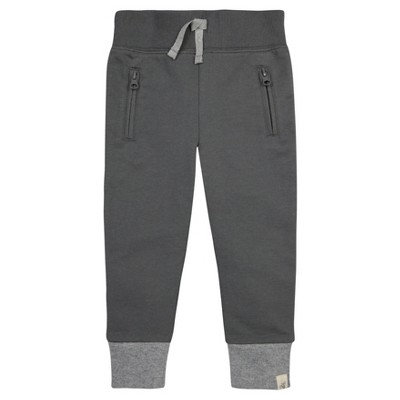 Burt's Bees Baby® Boys' Organic French Terry Zip Pocket Pant - Gray 0-3M