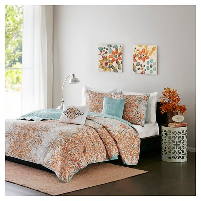 Orange Alexis Faded Paisley Print Multiple Piece Quilted Coverlet Set (Full/Queen)- 5-pc