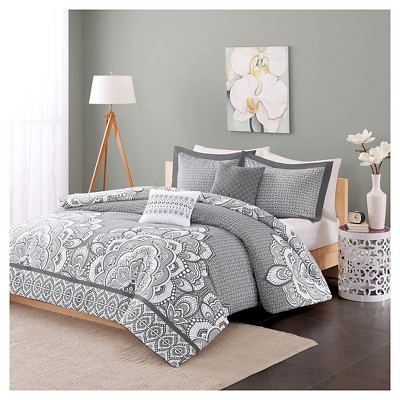 Aimee Duvet Cover Set (Full/Queen)5pc - Gray