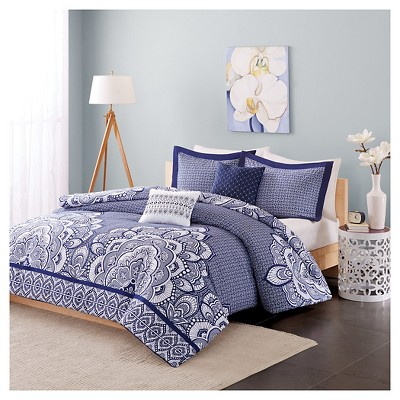 Aimee Duvet Cover Set (Full/Queen)5pc - Blue
