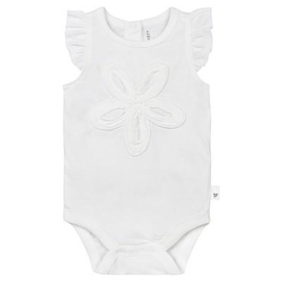 Burt's Bees Baby® Girls' Organic Frilly Flower Bodysuit - White 0-3M