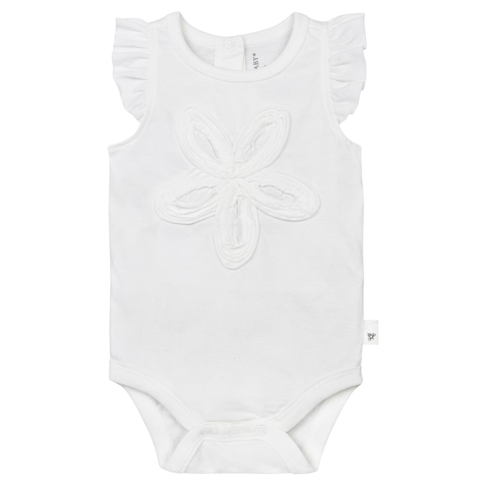 Burts Bees Baby Girls Organic Frilly Flower Bodysuit - White 3-6M, Size: 3-6 M
