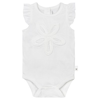 Burt's Bees Baby® Girls' Organic Frilly Flower Bodysuit - White 6-9M