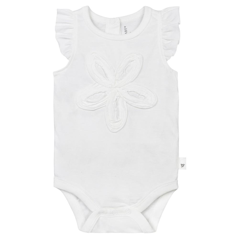 Burts Bees Baby Girls Organic Frilly Flower Bodysuit - White 6-9M, Size: 6-9 M