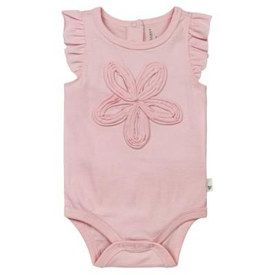 Burt's Bees Baby® Girls' Organic Frilly Flower Bodysuit - Pink 3-6M