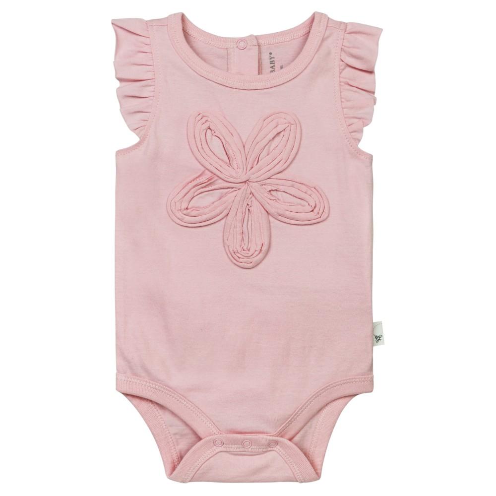 Burts Bees Baby Girls Organic Frilly Flower Bodysuit - Pink 6-9M, Size: 6-9 M