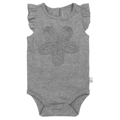 Burt's Bees Baby® Girls' Organic Frilly Flower Bodysuit - Heather Grey 18M