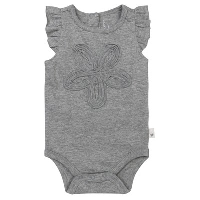 Burt's Bees Baby® Girls' Organic Frilly Flower Bodysuit - Heather Grey 0-3M