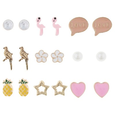 Girls' 9-Pack Earring Set - Cat & Jack™ Gold Combo