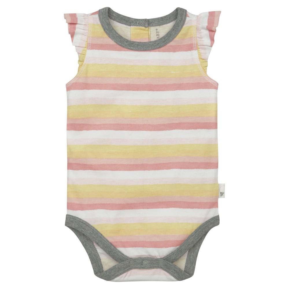 Burts Bees Baby Girls Organic Painted Stripe Bodysuit - 12M, Size: 24 M, Multicolored