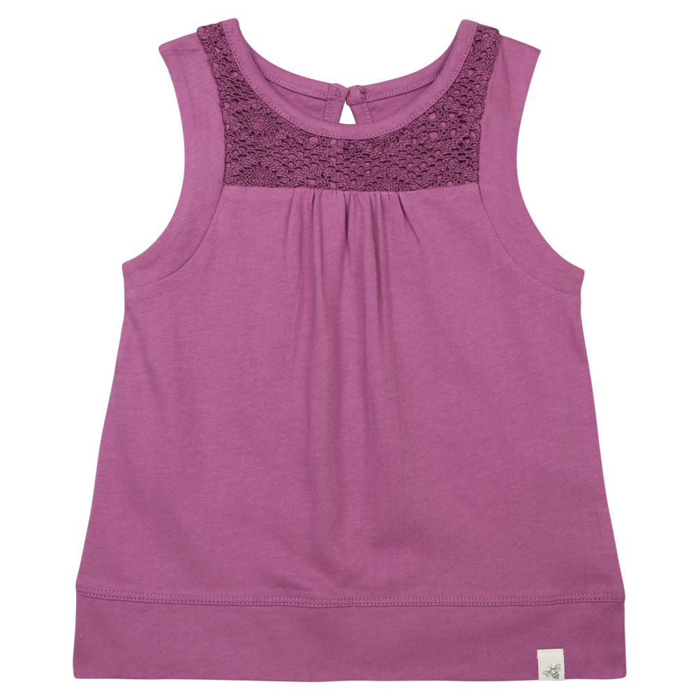 Burts Bees Baby Girls Organic Crochet Accent T-Shirt - Pink 3-6M, Size: 3-6 M, Purple