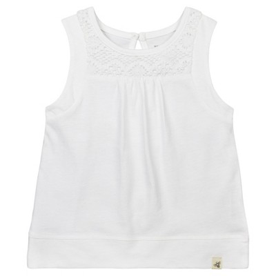 Burt's Bees Baby Girls' Organic Crochet Accent T-Shirt - White 0-3M