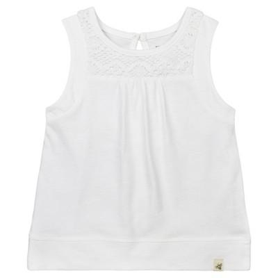 Burt's Bees Baby Girls' Organic Crochet Accent T-Shirt - White 3-6M