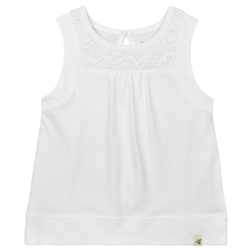 Burts Bees Baby Girls Organic Crochet Accent T-Shirt - White 3-6M, Size: 3-6 M