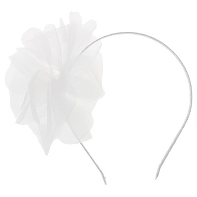 Girls' Satin Organza Gem Flower Headband Cat & Jack - White, Girl's