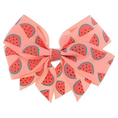 Girls' Watermelon Print Bow Hair Clip - Cat & Jack™ Coral
