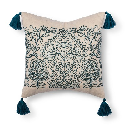 Teal Paisley Embroidered Throw Pillow with Tassels (18 x18 )- Threshold™