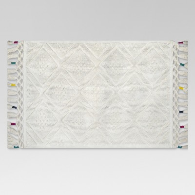Diamond Bath Rug Fringe (20 x34 )Cream - Threshold™