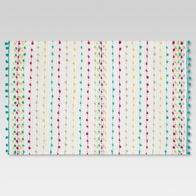 Dotted Stripe Bath Rug (20 x34 )Cream - Threshold™