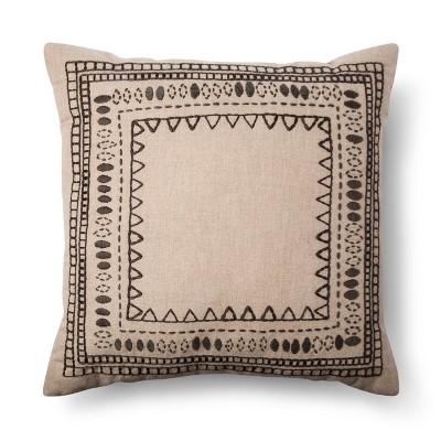 Brown Embroidered Border Square Throw Pillow (18 x18 )- Threshold™