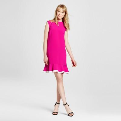 Women's Fuchsia Twill Ruffle Hem Dress - Victoria Beckham for Target
