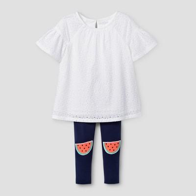 Baby Girls' Top And Bottom Set Cat & Jack™ Fresh White 18M