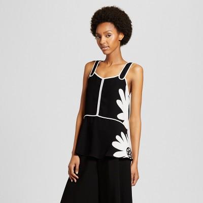 Women's Black Daisy Peplum Tank Top - Victoria Beckham for Target
