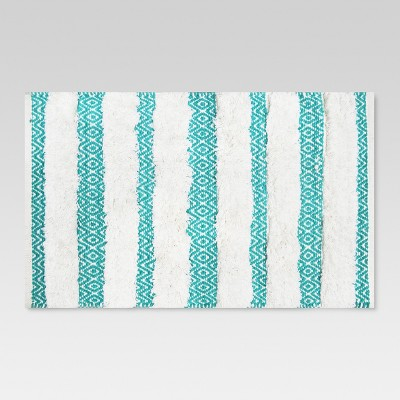 Ikat Striped Bath Rug 20 X34  Turquoise/White - Threshold™