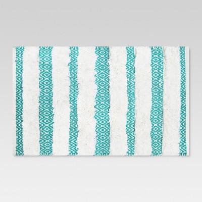 Tribal Bath Rug (20 x34 )Turquoise/White - Threshold™