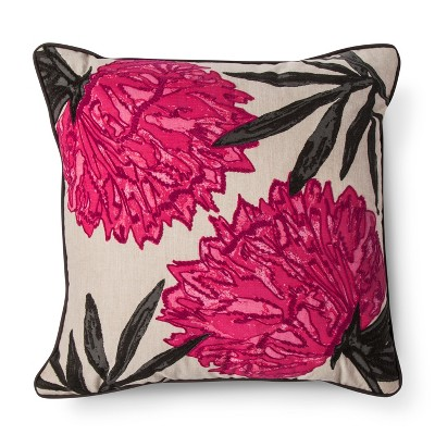Pink Embroidered Floral Square Throw Pillow - Threshold™