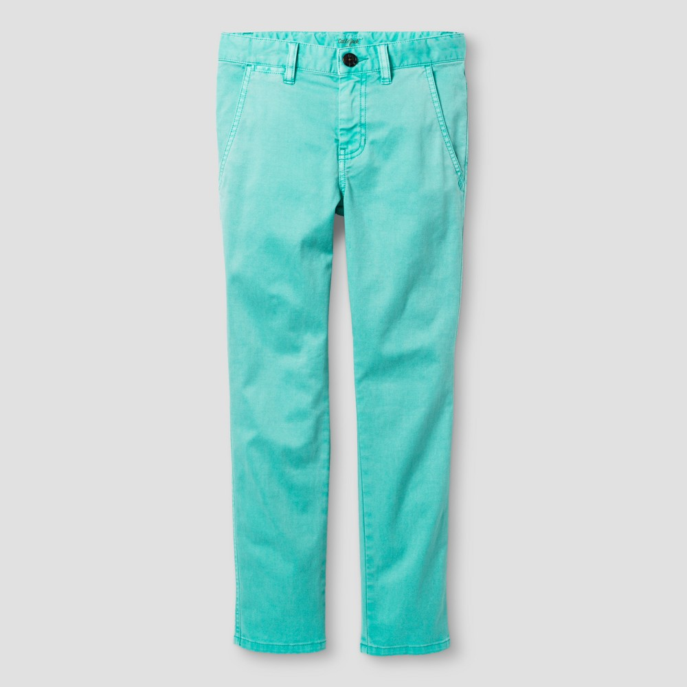 Boys Chino Pants Slim Fit Stretch - Cat & Jack Sea Green 10 Husky