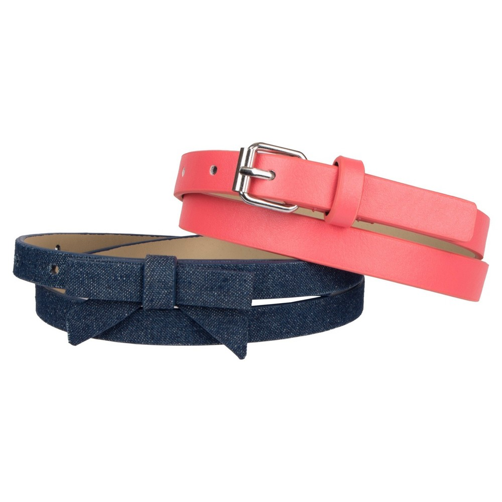 Girls 2-Pack Belt Set - Cat & Jack Denim/Coral XL, Multicolored