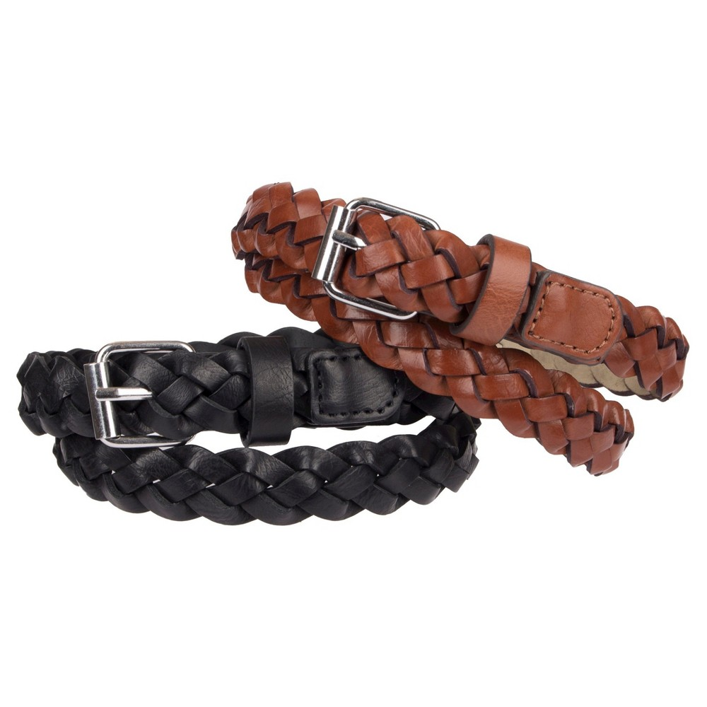 Girls 2-Pack Braided Belt Set - Cat & Jack Black/Brown L, Multicolored