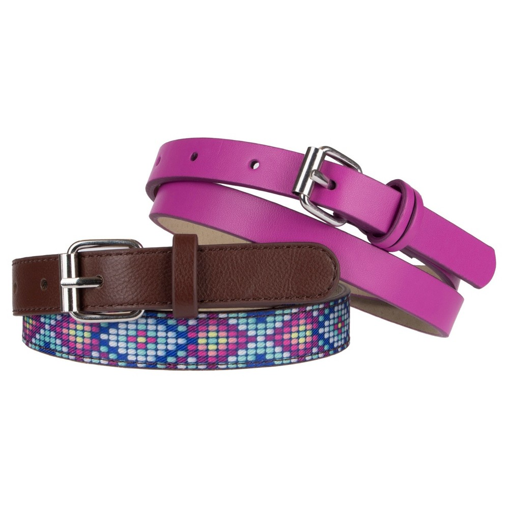Girls 2-Pack Belt Set - Cat & Jack Multi-Colored L, Multicolored