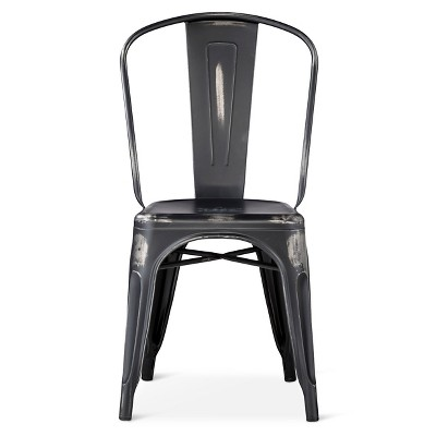 Distressed High Back Metal Dining Chair - Black