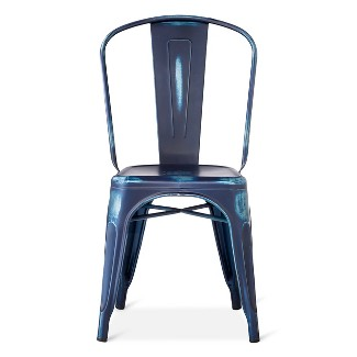 Blue Metal Dining Chairs distressed metal dining chairs : target