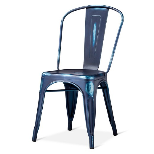Blue Metal Dining Chairs distressed high back metal dining chair - blue : target