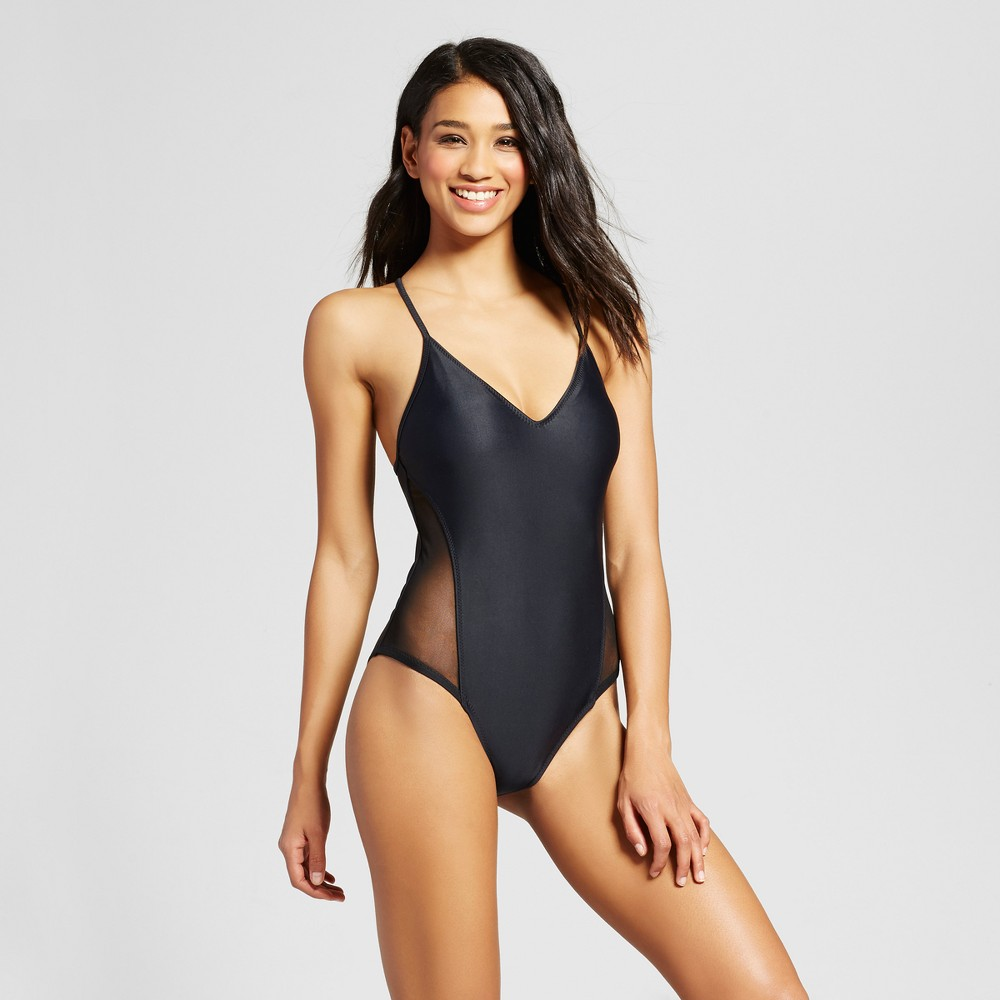 Women's Mesh Panel One Piece - Black - L - Mossimo